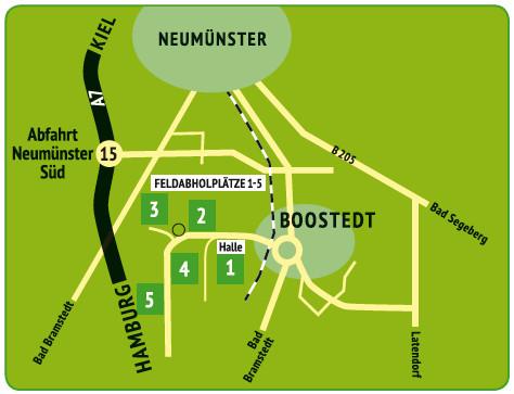 Anfahrtsskizze Boostedter Rollrasen Neumünster, Bad Bramstedt, Bad Segeberg, Kiel, Hamburg, Itzehoe